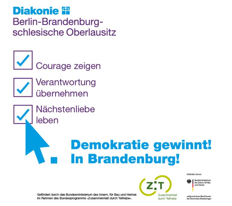 Logo Demokratie gewinnt! In Brandenburg!